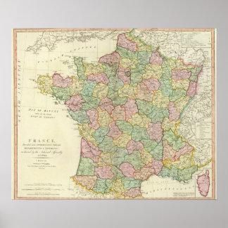 De Kaart van de Atlas van Frankrijk met Bischoppen Poster