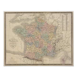 De Kaart van de Atlas van Frankrijk Poster
