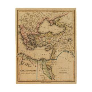 De Kaart van de Atlas van het Midden-Oosten Hout Afdruk
