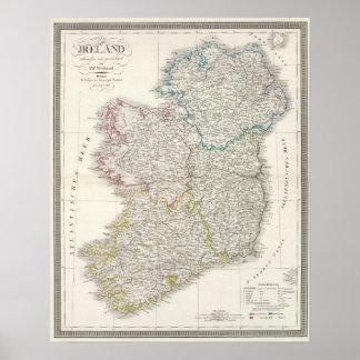 De kaart van de Atlas van Ierland Poster
