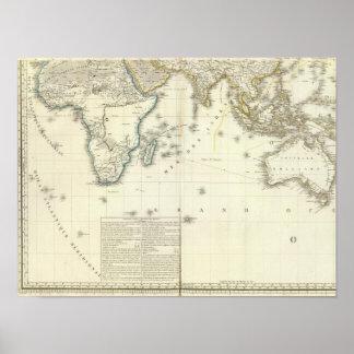 De Kaart van de Atlas van Indische Oceaan Poster