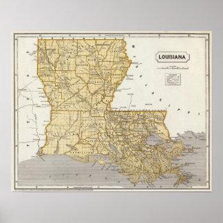 De Kaart van de Atlas van Louisiane Poster