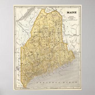 De Kaart van de Atlas van Maine Poster