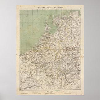 De Kaart van de Atlas van Nederland en van België Poster