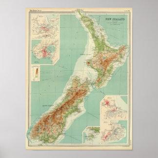 De Kaart van de Atlas van Nieuw Zeeland Poster
