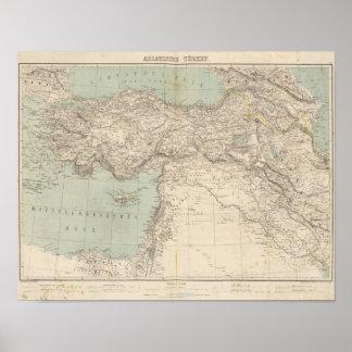 De Kaart van de Atlas van Turkije Poster
