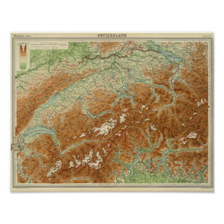 De Kaart van de Atlas van Zwitserland Poster