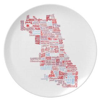 De Kaart van de Buurt van Chicago Melamine+bord