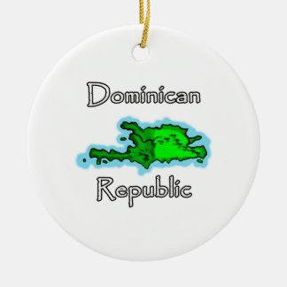 De Kaart van de Dominicaanse Republiek Rond Keramisch Ornament
