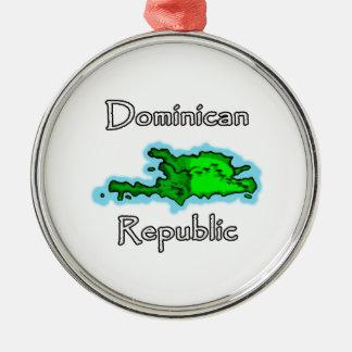 De Kaart van de Dominicaanse Republiek Zilverkleurig Rond Ornament