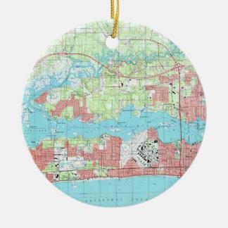 De Kaart van de Mississippi van Biloxi (1992) Rond Keramisch Ornament