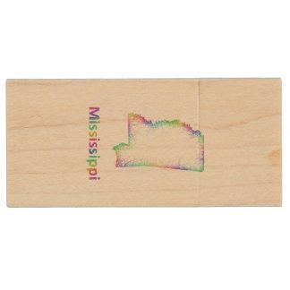 De kaart van de Mississippi van de regenboog Houten USB 2.0 Stick