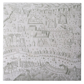 De kaart van de stad van Constantinopel, Turkije,  Keramisch Tegeltje