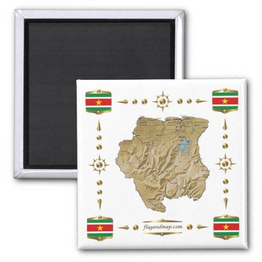 De kaart van de suriname de magneet van vlaggen