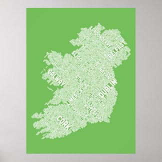 De kaart van de Tekst van de Stad van Ierland Poster