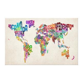 De Kaart van de tekst van de Wereld Canvas Print