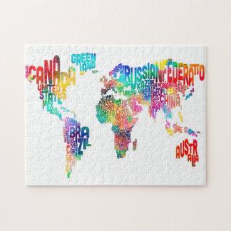 De Kaart van de tekst van de Wereld Puzzel