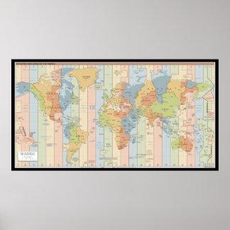 De Kaart van de Tijdzone van de wereld Poster