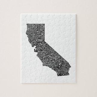 De kaart van de typografie van Californië Puzzel