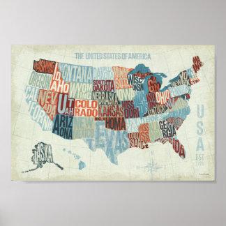 De Kaart van de V.S. met Staten in Woorden Poster