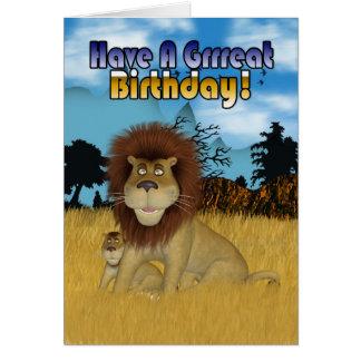 De Kaart van de verjaardag met de Leeuw en de Welp