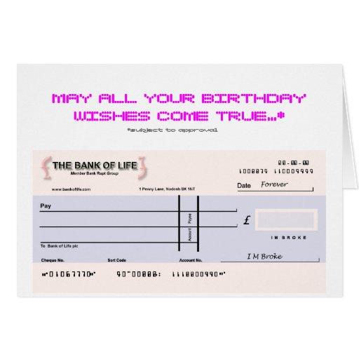 De kaart van de verjaardag van de blanco cheque zazzle for Joke cheque template