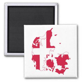 De Kaart van de Vlag van Denemarken Vierkante Magneet