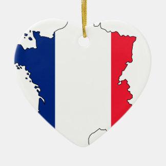 De Kaart van de Vlag van Frankrijk #2 Keramisch Hart Ornament