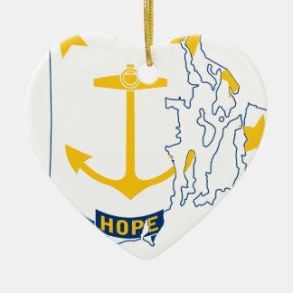 De Kaart van de vlag van Rhode Island Keramisch Hart Ornament