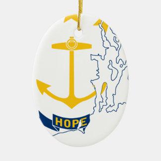 De Kaart van de vlag van Rhode Island Keramisch Ovaal Ornament