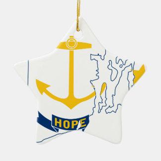 De Kaart van de vlag van Rhode Island Keramisch Ster Ornament