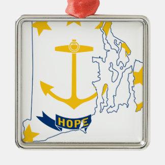 De Kaart van de vlag van Rhode Island Zilverkleurig Vierkant Ornament