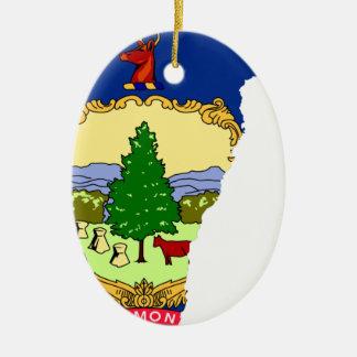 De Kaart van de vlag van Vermont Keramisch Ovaal Ornament