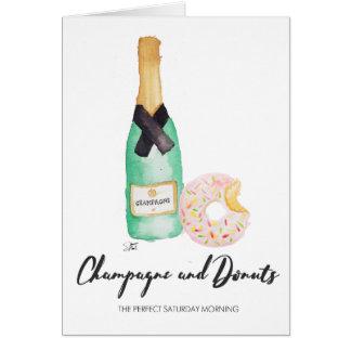 De Kaart van de Waterverf Champagne en Donuts