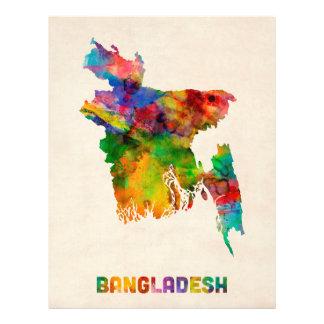 De Kaart van de Waterverf van Bangladesh Flyer 21,6 X 27,9 Cm