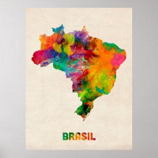 De Kaart van de Waterverf van Brazilië Poster