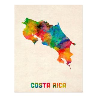De Kaart van de Waterverf van Costa Rica Flyer 21,6 X 27,9 Cm