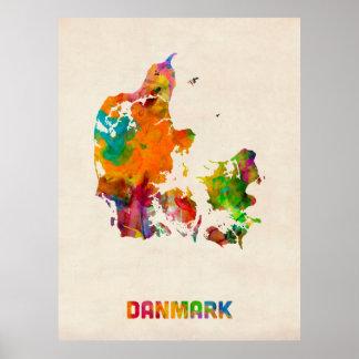 De Kaart van de Waterverf van Denemarken Poster