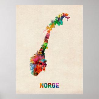 De Kaart van de Waterverf van Noorwegen Poster