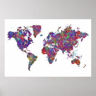 De Kaart van de wereld, het Schilderen van de Acti Poster