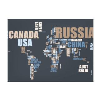 De Kaart van de wereld in Woorden Stretched Canvas Afdrukken