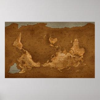 De Kaart van de wereld - ondersteboven Poster