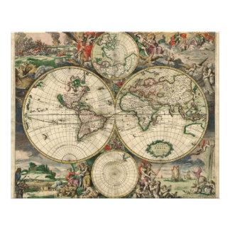 De Kaart van de wereld van 1689 Fotoafdrukken