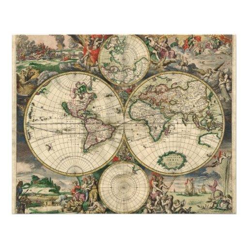 De Kaart van de wereld van 1689 Foto Prints