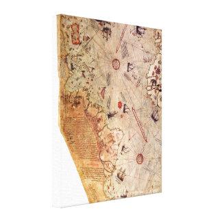 De Kaart van de Wereld van Reis van Piri Canvas Print