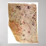 De Kaart van de Wereld van Reis van Piri Poster