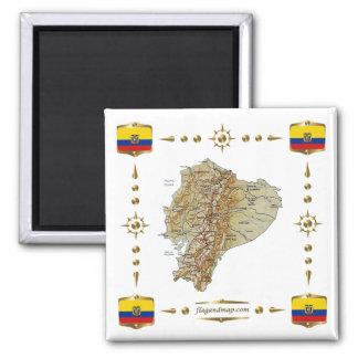 De Kaart van Ecuador + De Magneet van vlaggen