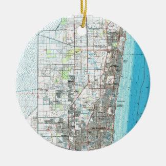 De Kaart van Florida van het Fort Lauderdale Rond Keramisch Ornament