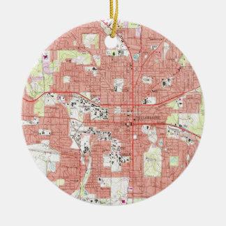 De Kaart van Florida van Tallahassee (1970) Rond Keramisch Ornament