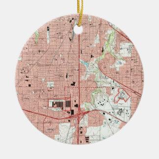 De Kaart van Fort Worth Texas (1995) Rond Keramisch Ornament